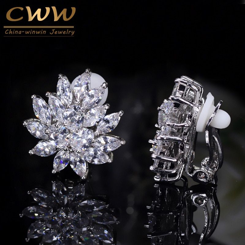 CWWZircons New Designer Flower Shape Stunning Cubic Zirconia Crystal Women Ear Clip on Earrings Without Piercing CZ196