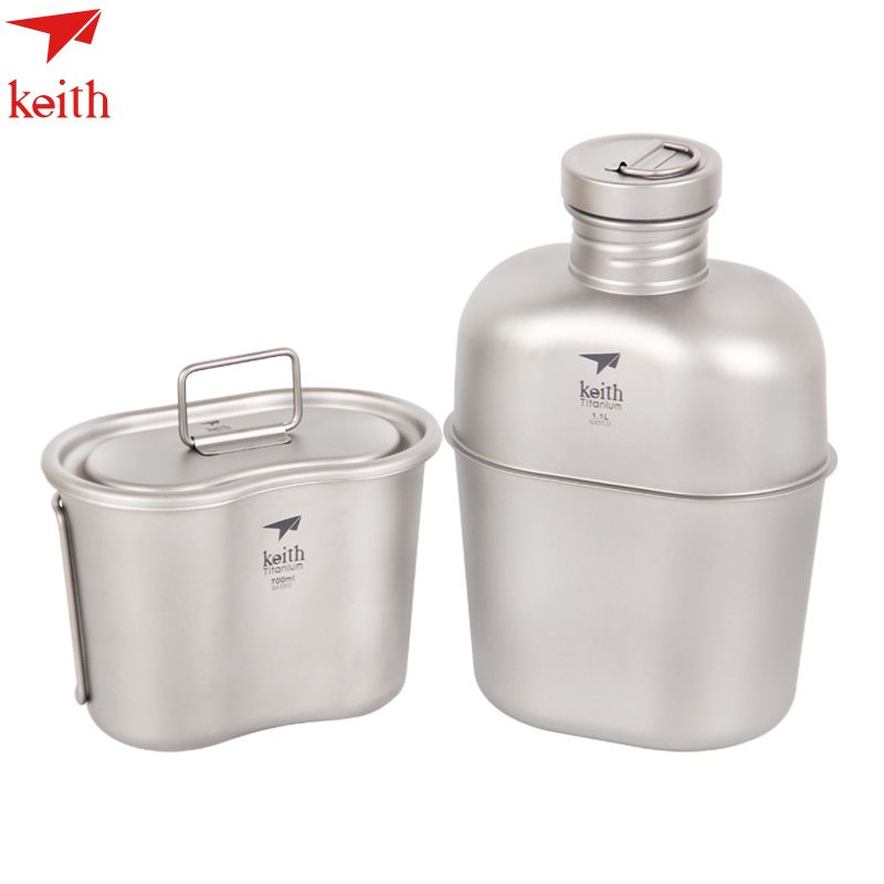 Hot Sale Keith 1100ml Titanium Sports Kettle and 700ml Titanium Lunch Boxes Camping  Water Bottles Army Kettle Ti3060