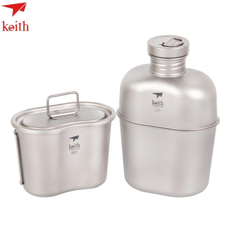 Heißer Verkauf Keith 1100 ml Titan Sport Wasserkocher und 700 ml Titan Lunch-boxen Camping Wasserflaschen Armee Wasserkocher Ti3060