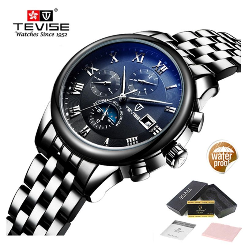 TEVISE Automatic Mechanical Watch Men Luxury Brand Mens Waterproof Watches Luminous Stainless Steel Gold Watch Relogio Masculino