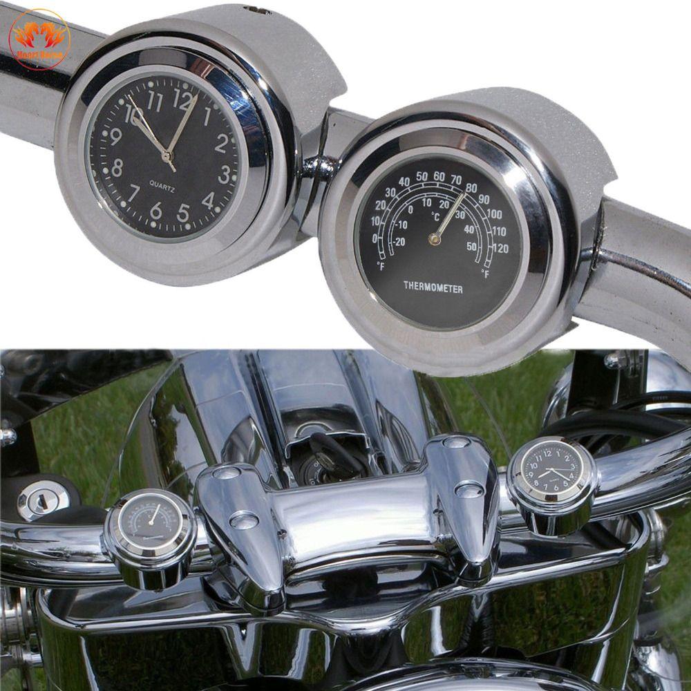 Black Motorcycle Handlebars Dial Clock Watch Temp Thermometer Universal 7/8For Harley Cruiser Chopper Honda Yamaha Cafe Racer