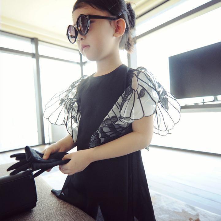 От 2 до 6 лет, новинка 2017 года большой бренд Стиль Европа и Америка крылья бабочки Обувь для девочек шифоновое платье для малышей Детское модн...