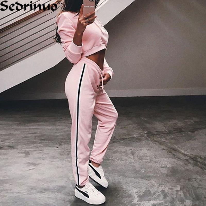 спортивный костюм женский 2017 костюмы женские обувь комплект из 2 предметов Топ Свободные спортивный костюм комбинезон с длинным рукавом то...