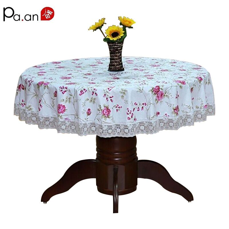 Pastoral Round <font><b>Table</b></font> Cloth Plastic Waterproof Oilproof <font><b>Table</b></font> Cover Floral Printed Lace Edge Anti Hot Coffee Tea Tablecloth