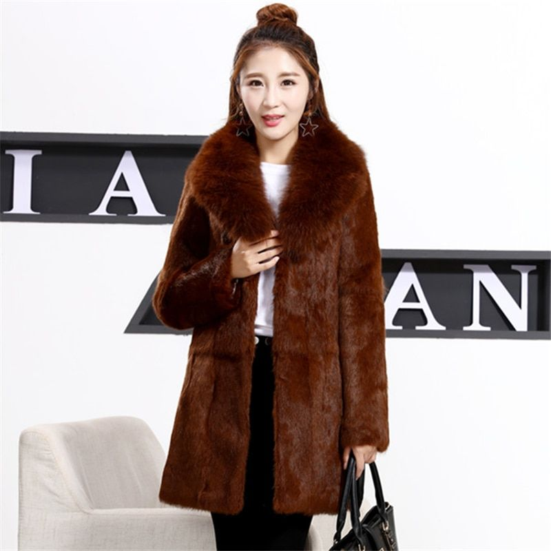 Plus Size S-8XL Whole Skin Natural Rabbit Fur Jackets Women Real Fur Coats Outerwear With Real Fox Fur Collar 2018 Autumn Winter