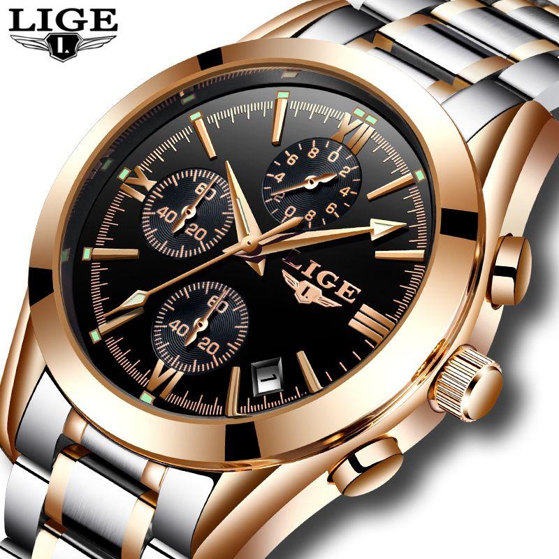 Relogio Masculino LIGE Hommes Top Marque De Luxe montre de sport militaire Hommes de Quartz Horloge Mâle En Acier Plein décontracté D'affaires montre en or