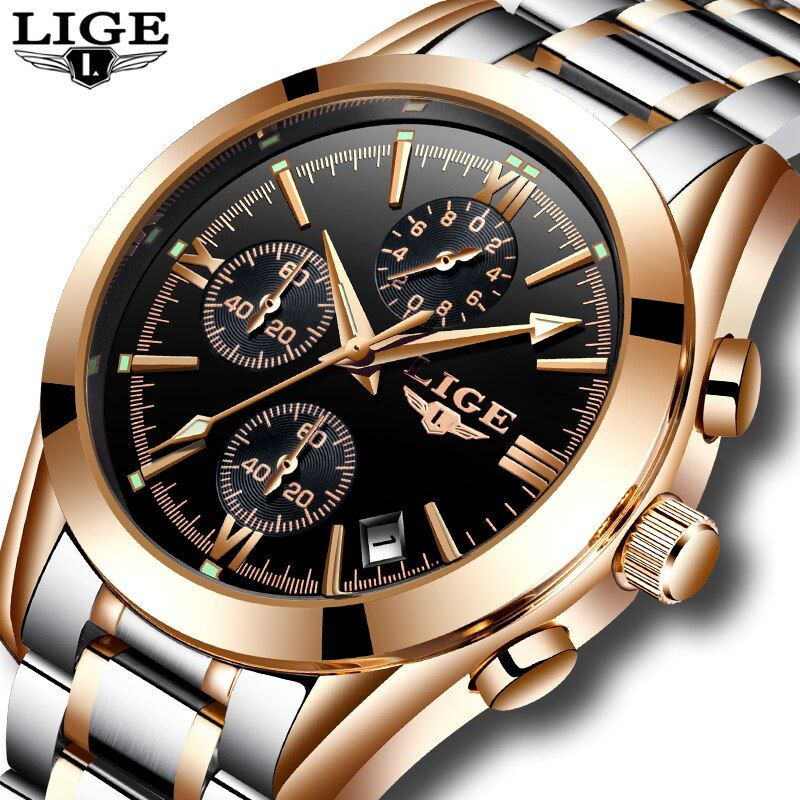 Relogio Masculino LIGE Men Top Luxury Brand Military Sport Watch Men's Quartz Clock Male Full Steel Casual Business gold watch