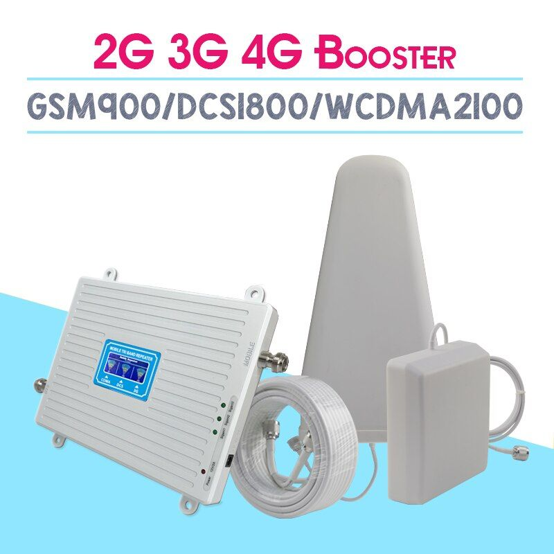 HOT 2G 3G 4G Tri Band Cellular Signal Amplifier GSM900 4G DCS/LTE1800 3G WCDMA2100mhz Cell Phone Signal Booster 70dB Repeater