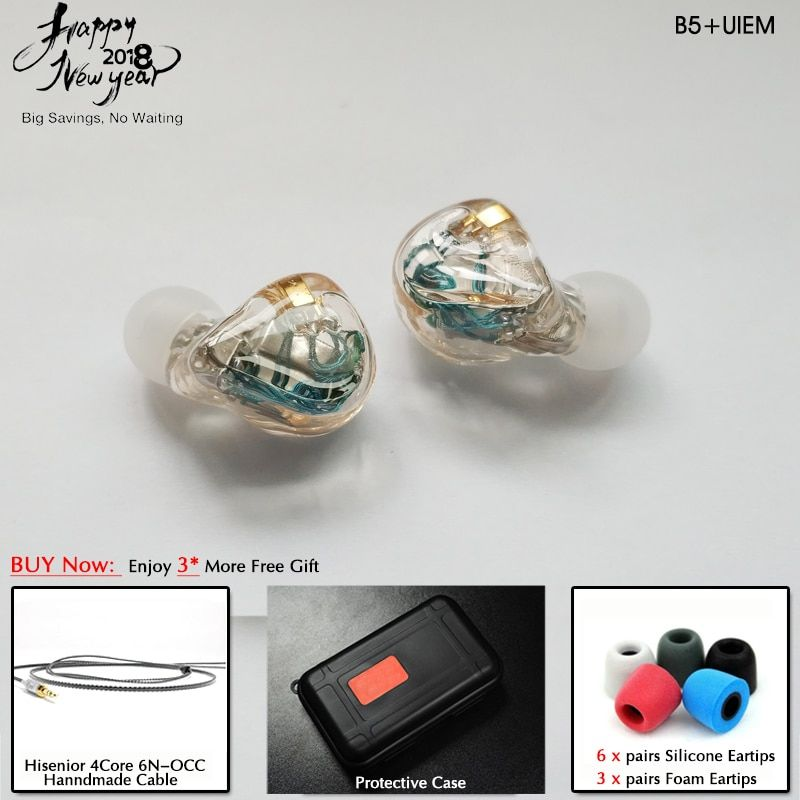 Hisenior B5+ 5 10BAs Universal Fit Balanced Armature In-Ear Monitor IEM Noise Cancelling Custom Earphone DHL/FEDEX Free Shipping