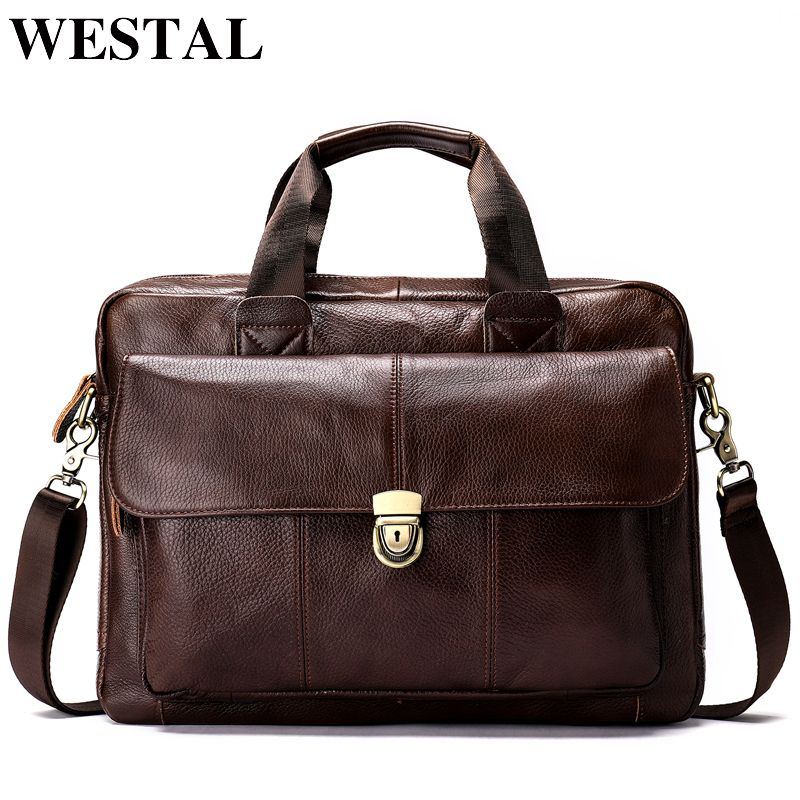 WESTAL Messenger Bag men Genuine Leather men's shoulder bag Laptop Men's fashion Briefcase Handbags crossbody bag for men 315