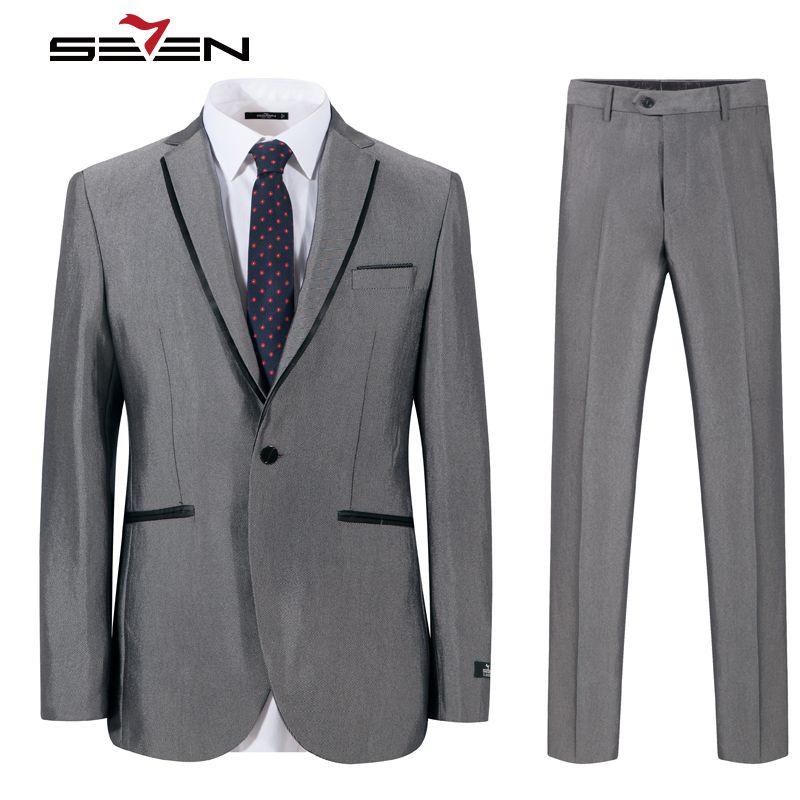 Seven7 Brand Mens Suits 2017 Slim Fit Grey Luxury Male Blazer Wedding Suit For Groom Tuxedo Business Party Jacket Pants 703C1203