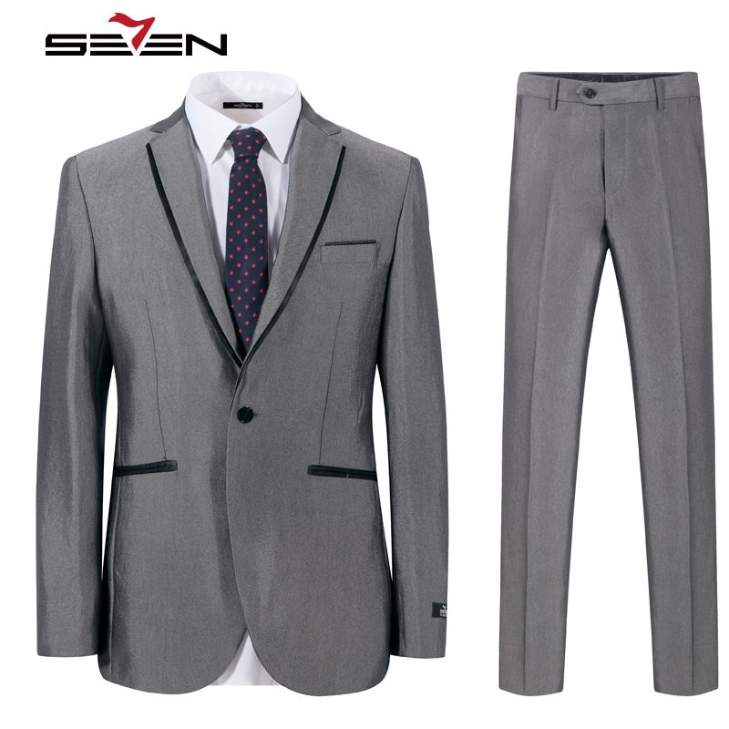 Seven7 Brand Mens Suits 2017 Slim Fit Grey Luxury Male Blazer Wedding Suit For Groom Tuxedo Business Party Jacket Pants 703C1203