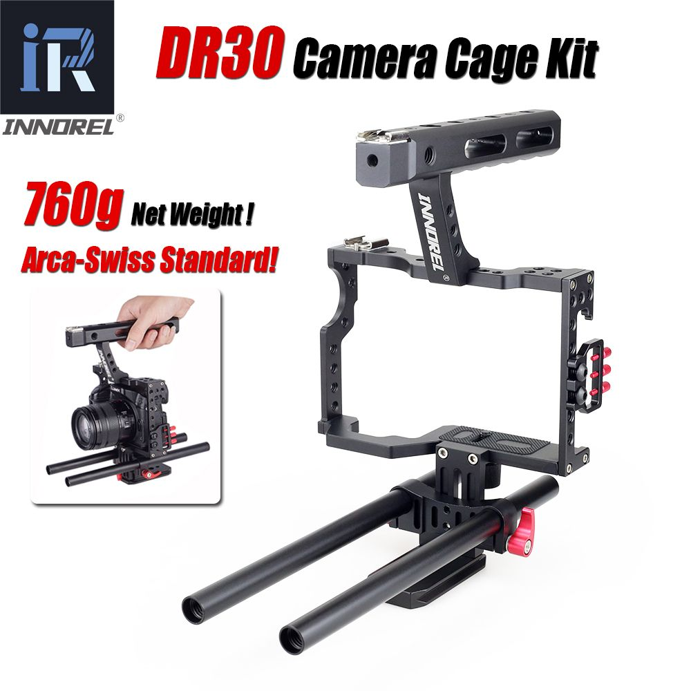 INNOREL DR30 Kamera Käfig Kit 15mm Rod Stabilisator Rig Handgriff Für Sony A7II A7R A7S A6300 A6000 Panasonic GH4 GH3 Canon M3 M5