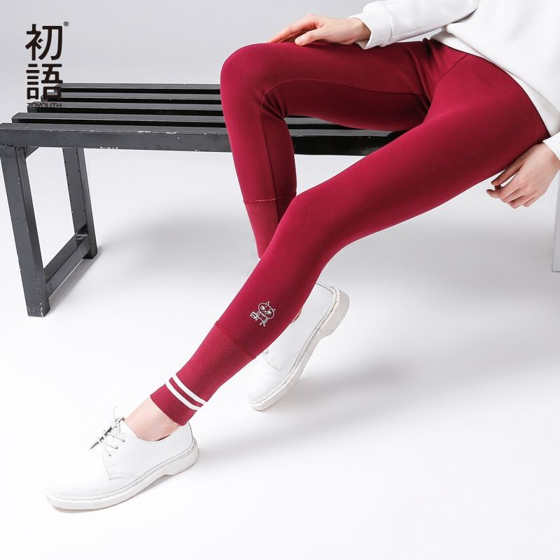 Toyouth Women Leggings 2017 Autumn Ankle-Length Printed Skinny Stretch Solid Fashion Cotton Leggings