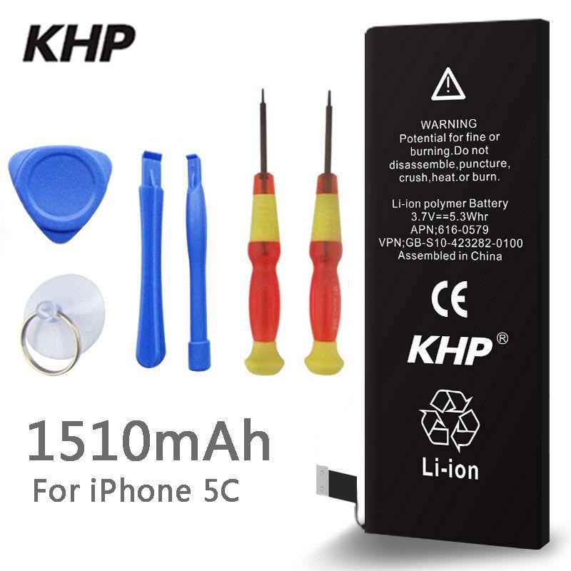 2018 Nouveau 100% D'origine KHP Téléphone Batterie Pour iphone 5C Réel Capacité 1510 mah Avec Machine Outils Kit Mobile Batteries 0 cycle