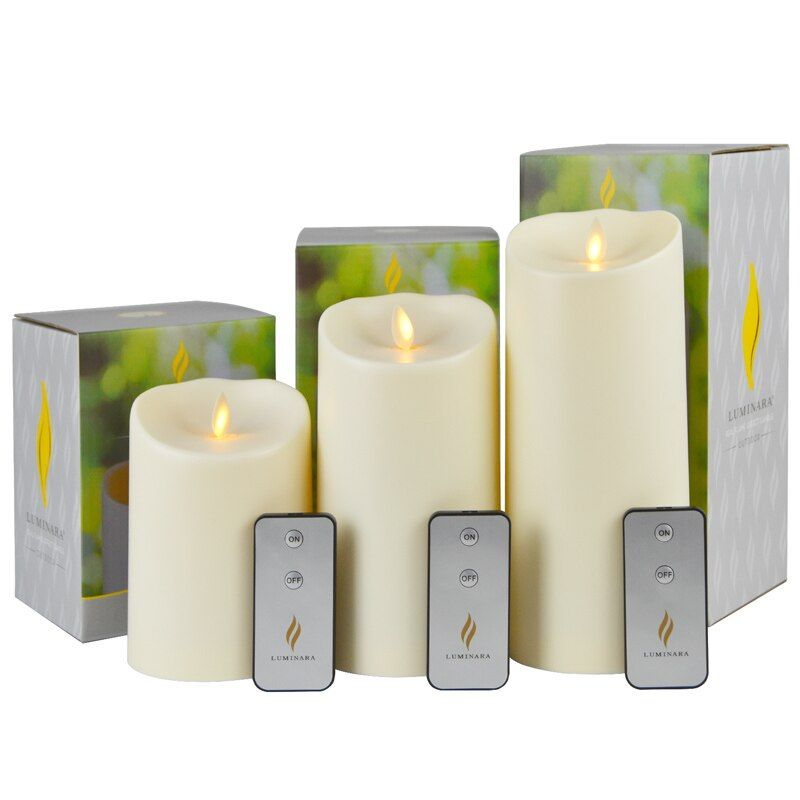 3Pcs Luminara OUTDOOR Waterproof Moving Wick Unscented Led Candle Battery Operated Candle Light for Pool Home Decor with Timer
