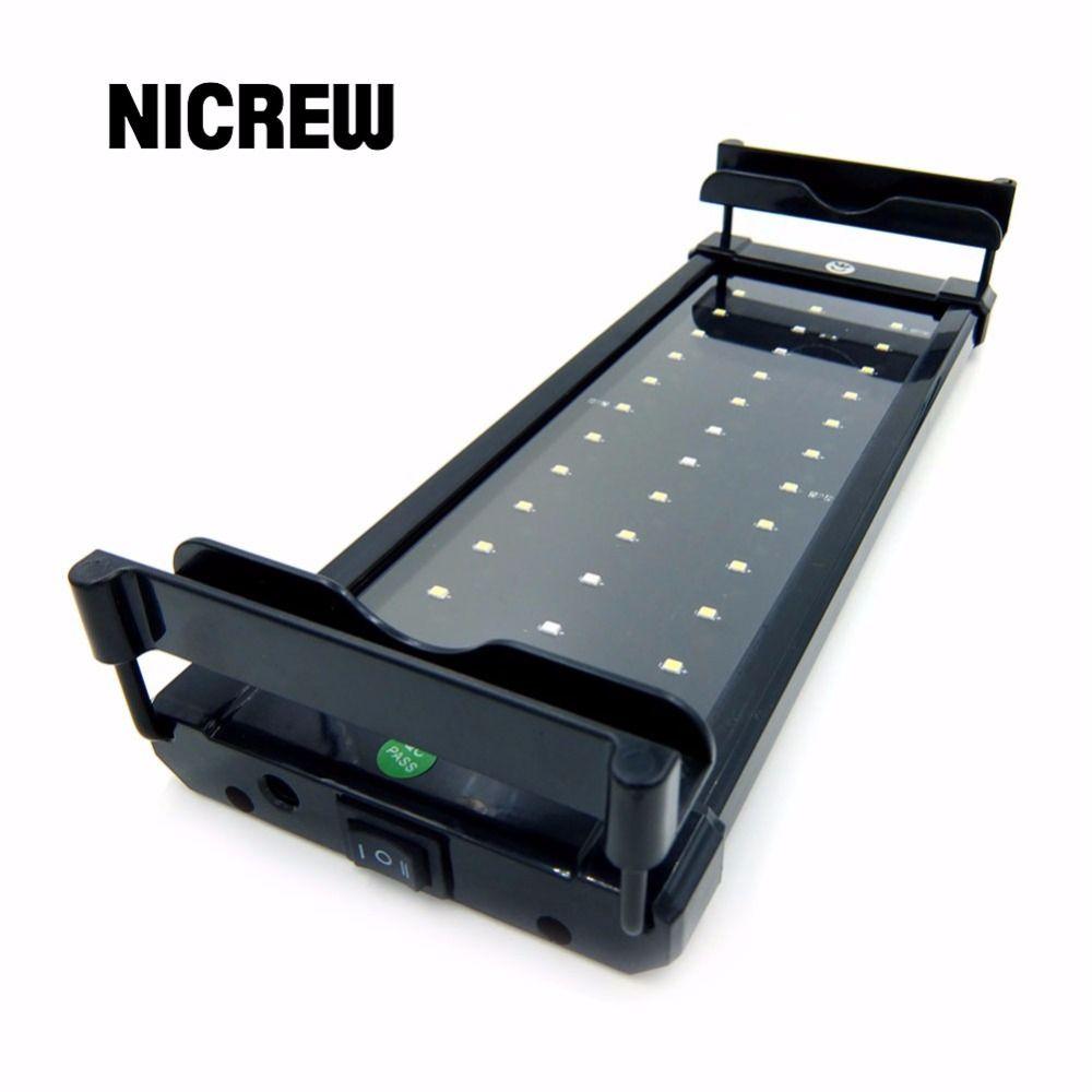 Nicrew 30-82cm 100-240V LED pour Aquarium lampe d'éclairage de réservoir de poisson avec supports extensibles blanc et bleu LED s adapté pour Aquarium