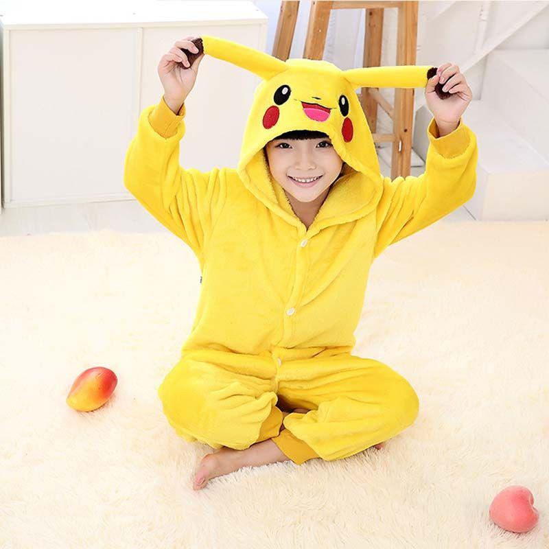 2019 enfants Pokemon Pikachu Onesie Costumes enfants filles garçons hiver enfants flanelle Animal pyjamas une pièce vêtements de nuit Halloween