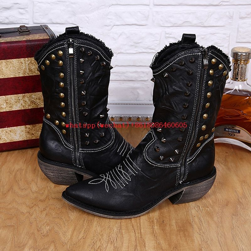Choudory 2017 Fashion Style Men's Dress Boots Balck Brown High Heels Pointed Toe Cowboy Boots Italian Punk Boots Shoes 46