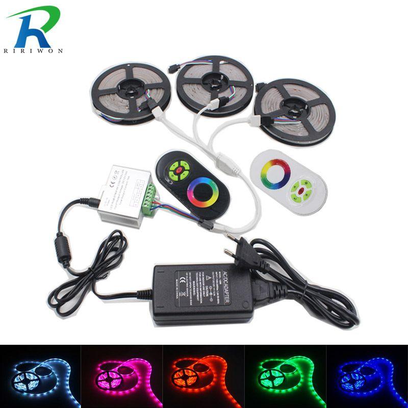 LED Strip Light RGB Led Tape <font><b>Ribbon</b></font> Waterproof LED RGB Flexible Light Strip DC12 SMD5050 5M 15M 10M 20M+Touch Controller+ Power