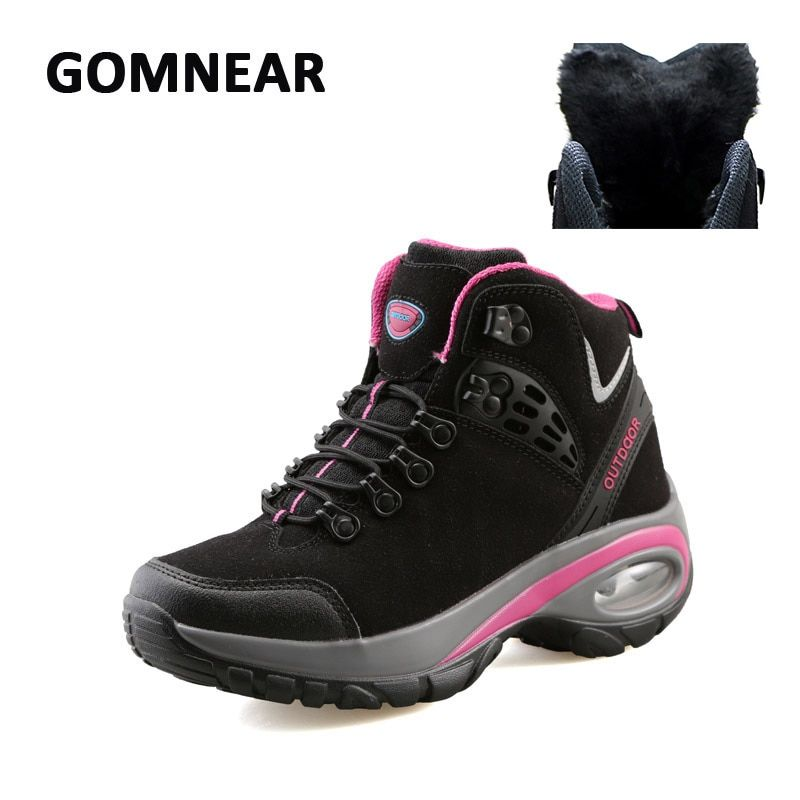 GOMNEAR New Women Winter Fur Hiking Shoes Breathable Dynamic Waterproof Antisikid Shoes Outdoor Hunting Trekking Sports Sneakers