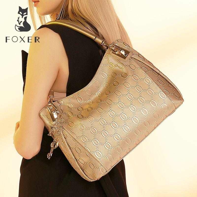 FOXER Brand Women Cow Leather Shoulder bag Fashion <font><b>Design</b></font> High quality Women's Handbag Female Handbags Tote Purse