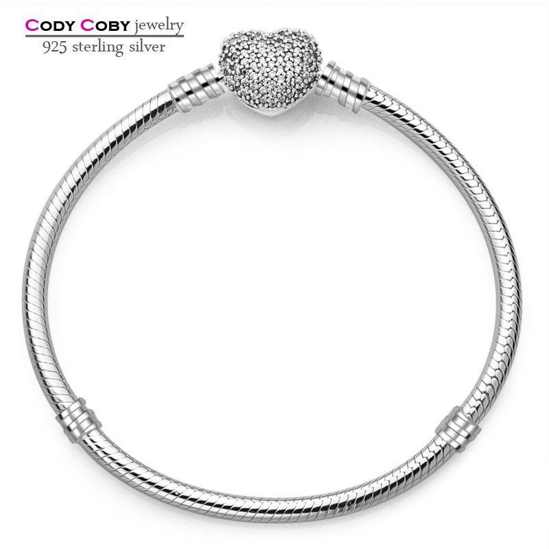 925 sterling argent serpent chaîne main bracelet & bracelet fit original charme perles pour hommes femmes berloques par pulsera bijoux