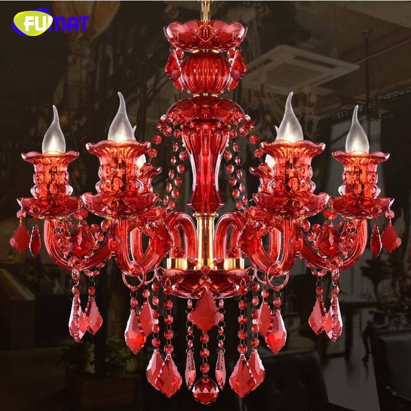 FUMAT Red Crystal Chandelier Fashion Modern Crystal Light Candle Home Lighting Living Room Dinning Room Cafe Retro Chandeliers