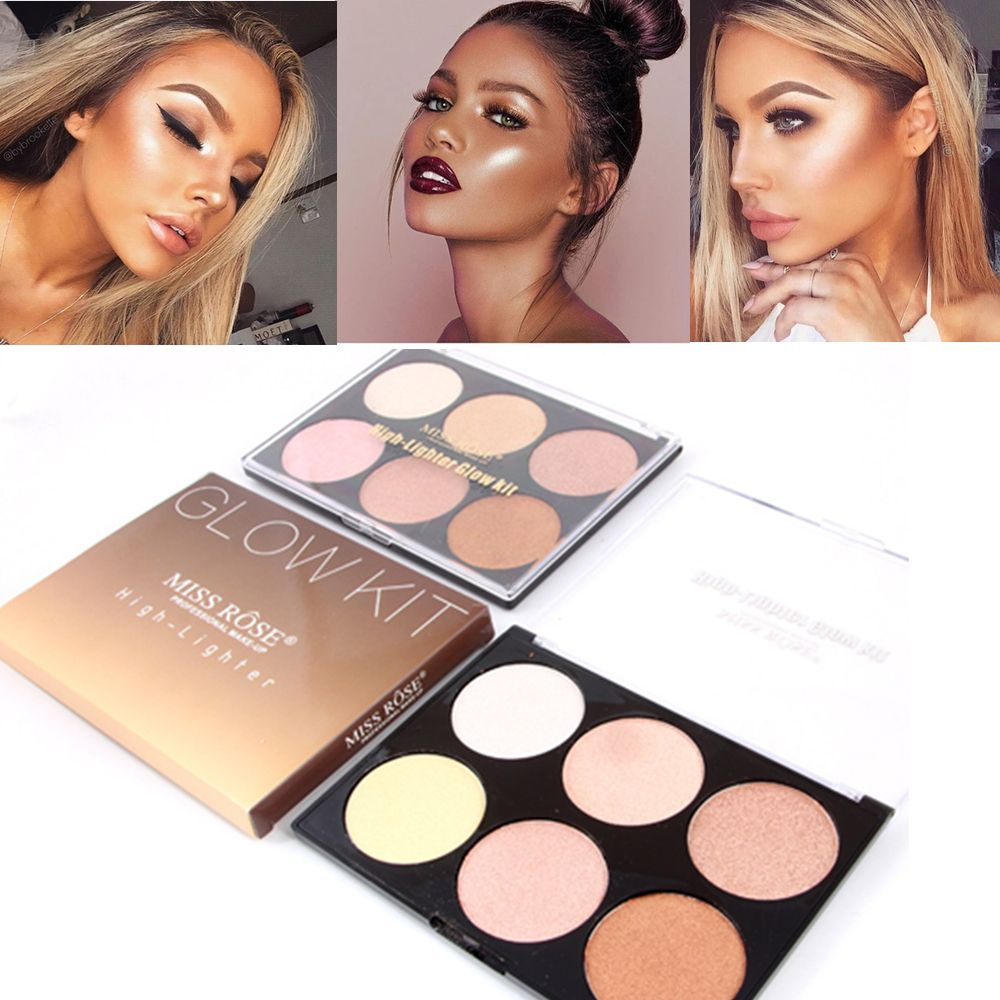 Miss Rose Brand Makeup Pressed Powder 6 Colors Bronzer and Highlighter Contour Palette Glow kit Drop Shipping