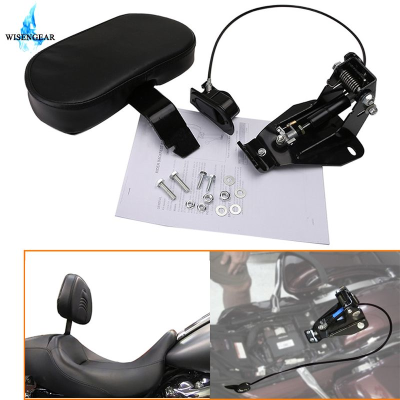 Detachable Adjustable Driver Rider Backrest w/ Mounting Kits For Harley Touring Road King Street Glide Ultra CVO FLHR FLHX 09-18