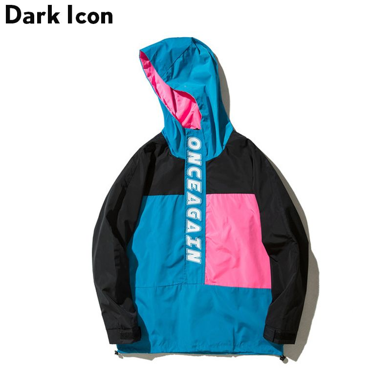 DARKICON Color Block Fashion Trend Men's Jackets 2017 Autumn Thin Style Casual Jacket Men with Hoodie