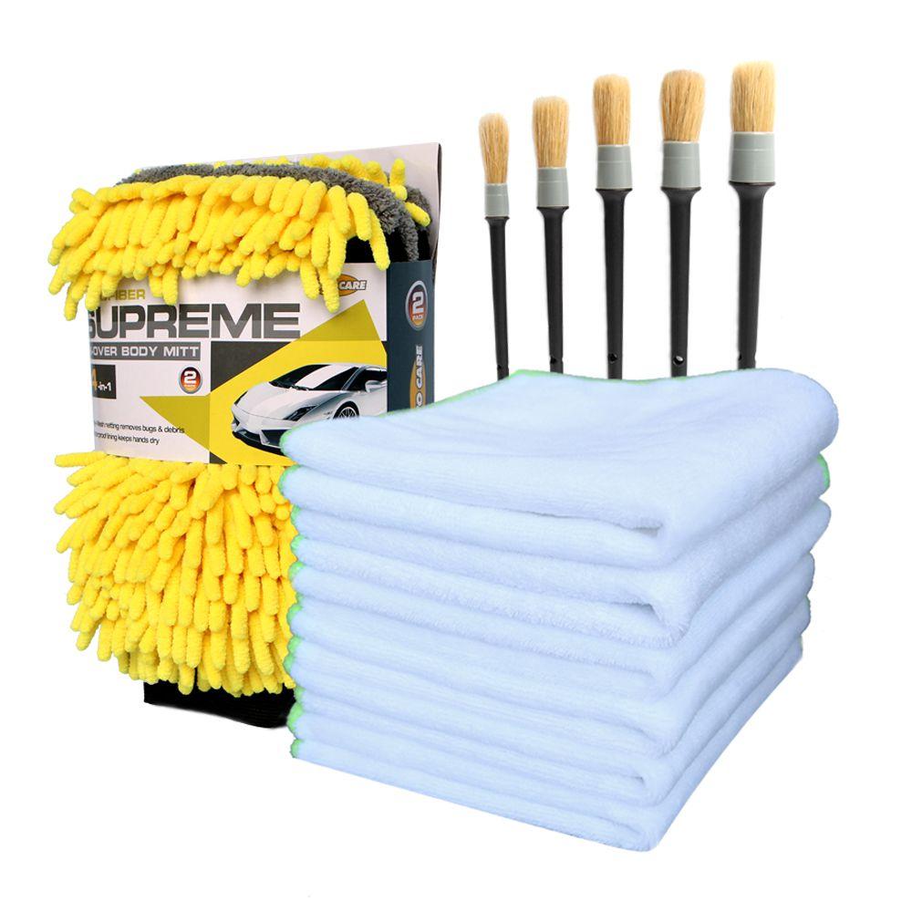 Car Detailing Kit 6pcs Car Cleaning Cloth 5pcs Detailing Brushes For Interior Dashboard Rims 2pcs Waterproof Gloves Car Care Set