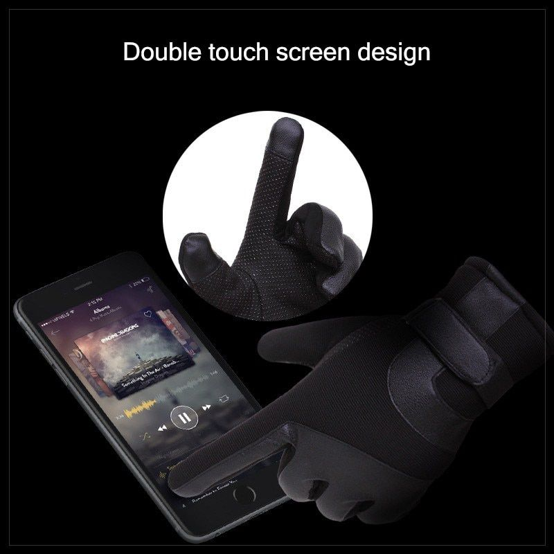 Warmth Moto Gloves Touch Screen Full Finger Gloves Winter Protect Hands Glove Leather Motorcycle Glove Biker Waterproof