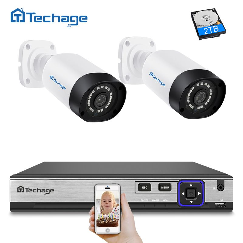Techage H.265 4CH CCTV Surveillance Kit 4MP Security Camera System 4CH POE NVR With 2PCS Outdoor Waterproof 4MP POE IP Camera