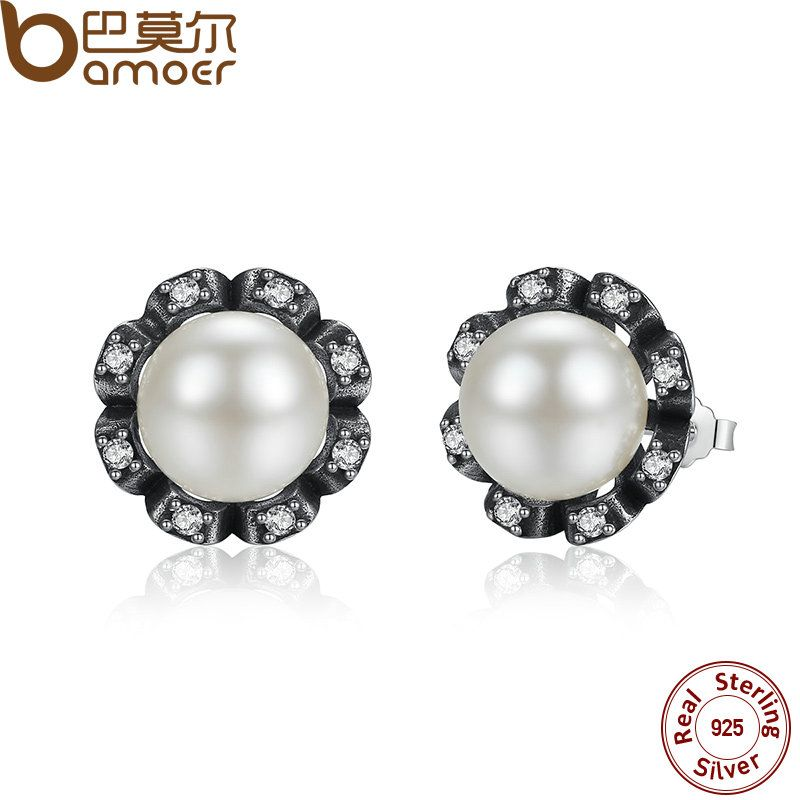 BAMOER Original 925 Sterling Silver Everlasting Grace Stud Earrings Fresh Water Cultured Pearl for Women Jewelry PAS424