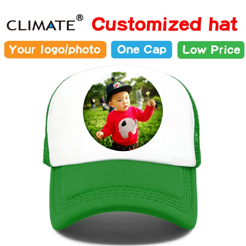 CLIMATE Photo DIY Customized Printing Baseball Trucker Cap Hat Adult Kid Children Boy Girl Name Heat Printing Customize Caps Hat