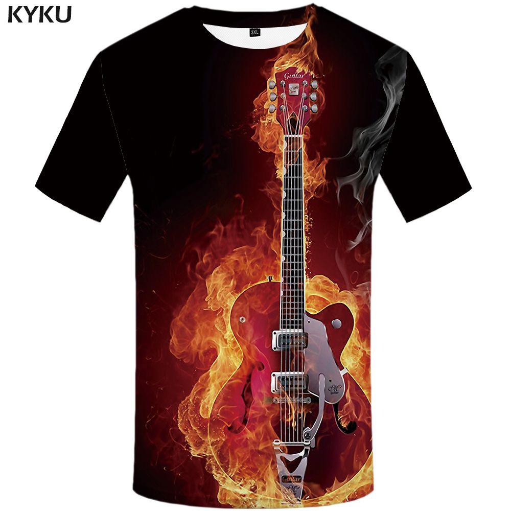 KYKU flamme T-shirt hommes musique T-shirts 3d guitare T-shirts décontracté métal chemise imprimer gothique Anime vêtements à manches courtes T-shirts