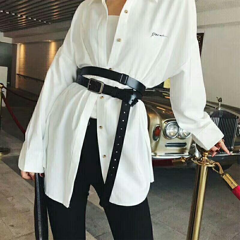 Mode européenne et américaine ceinture personnalité taille large ceinture noire cravate chemise taille ceinture