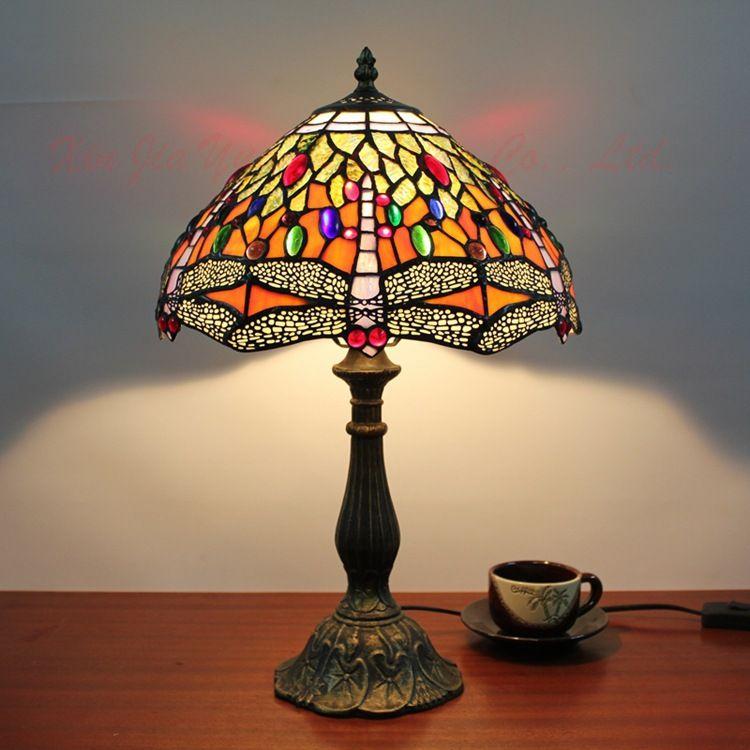 Table lamp Dragonfly Desk Lighting Home Lighting Deco Glass Lamp for Living Room Bedside Lighting