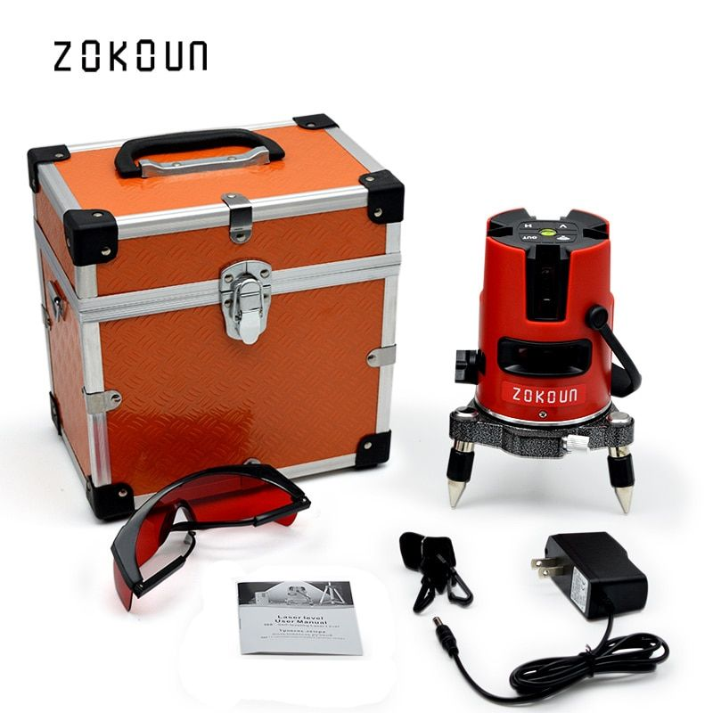 US PLUG Zokoun 5 lines 6 points 360 degrees rotary self leveling tilt slash functional laser level meter with outdoor mode
