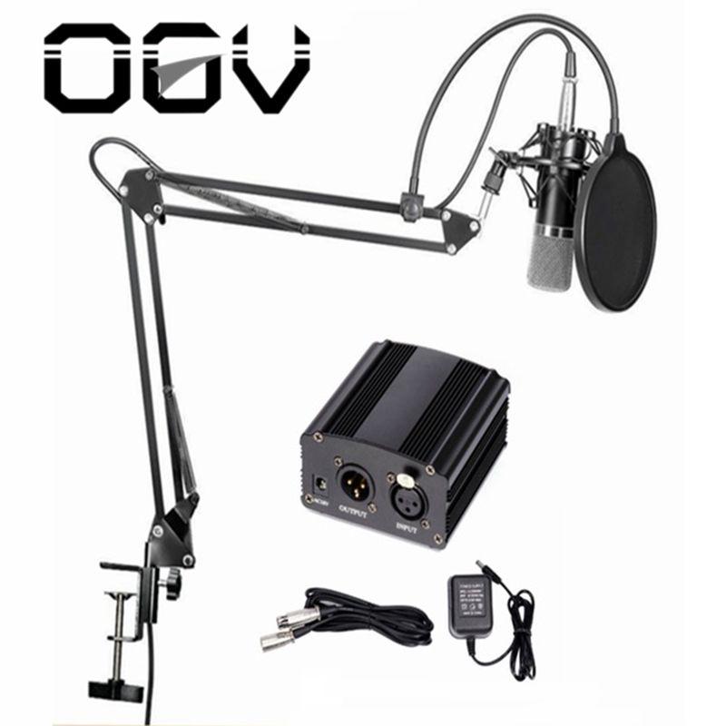 OGV 48 v alimentation fantôme pour microphone À Condensateur studio Matériel D'enregistrement avec Microphone Stand Pop Filtre câble adaptateur