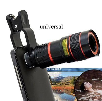 Acheter Deux en Obtenir Trois Universel Clip 8X Zoom Téléphone Mobile Télescope Lentille Téléobjectif Externe Smartphone Camera Lens pour Smartphone