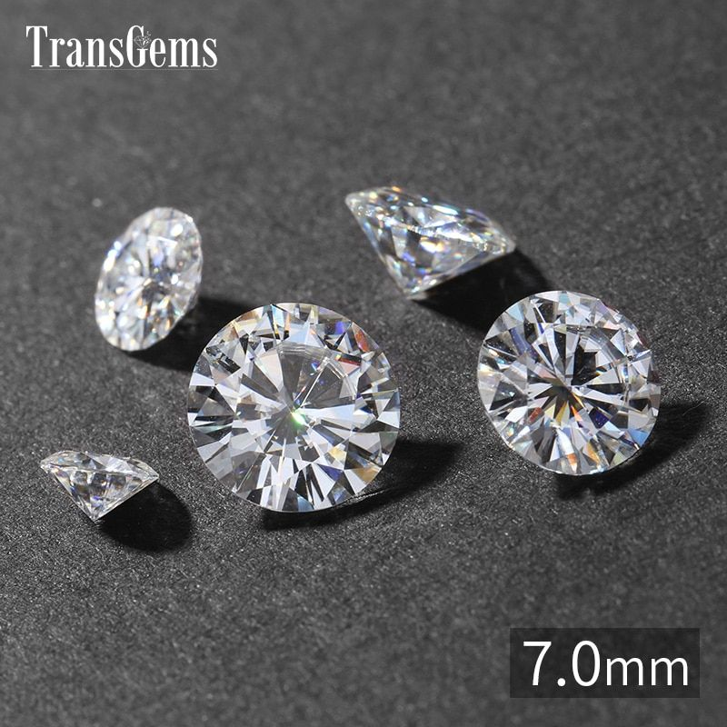 TransGems 1 Piece 7mm 1.2ct Carat GH Color Moissanite Equivalent Diamond Carat Weight 1.2ct for Jewelry Making