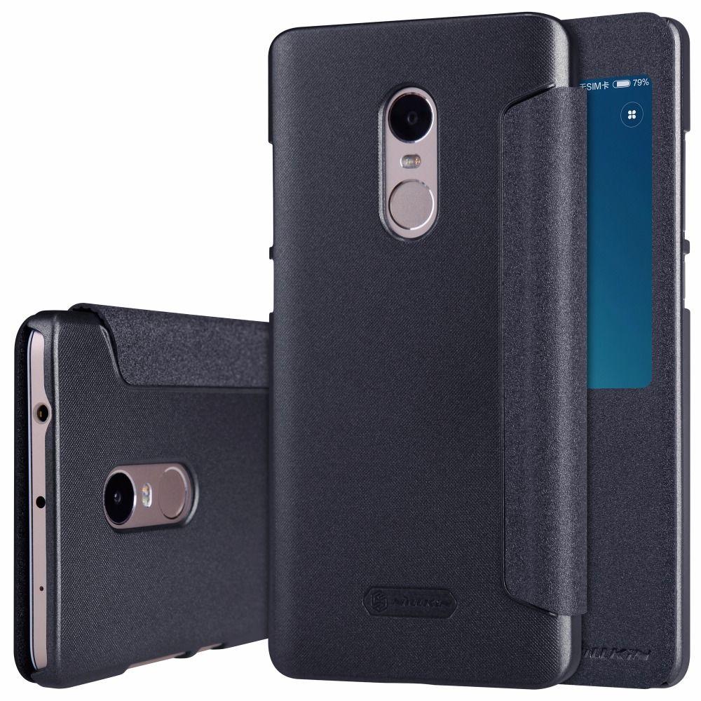 Cas pour xiaomi redmi note 4 téléphone couverture 5.5 ''NILLKIN PU + PC carry cas flip dur dur de couverture arrière en plastique pour redmi note 4 cas