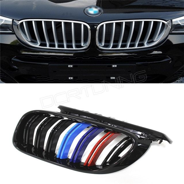 Dual Slats ABS Front Grille For BMW X Series X4 F26 X3 F25 2014 2015 - on Three Color M Look
