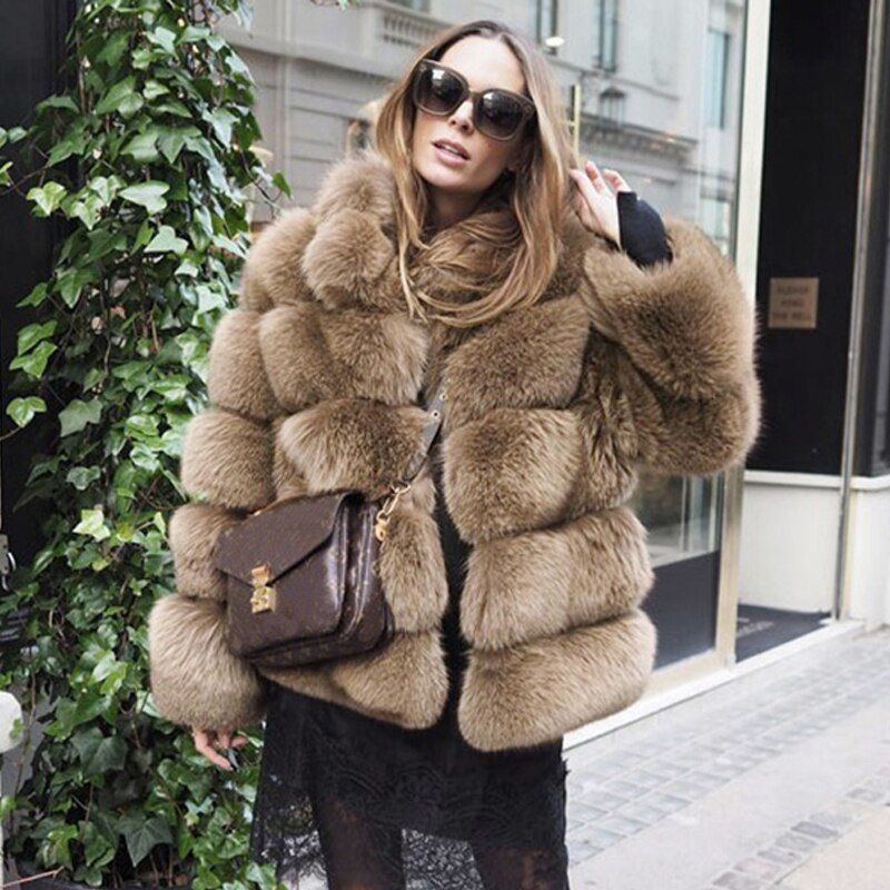 Tatyana Furclub Real Fur Coat Natural Fox Fur Jacket Fashion Top High Quality Black Fur Girl Winter Coat Female Jacket Fur Women