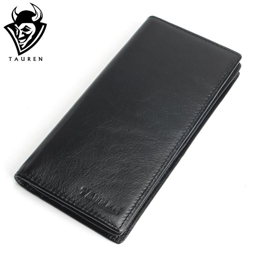Genuine Leather Men's Wallet Long Design Multifunctional Men Purse <font><b>Black</b></font> Billfold Card Holders For Men Solid Pocket Cow Leather