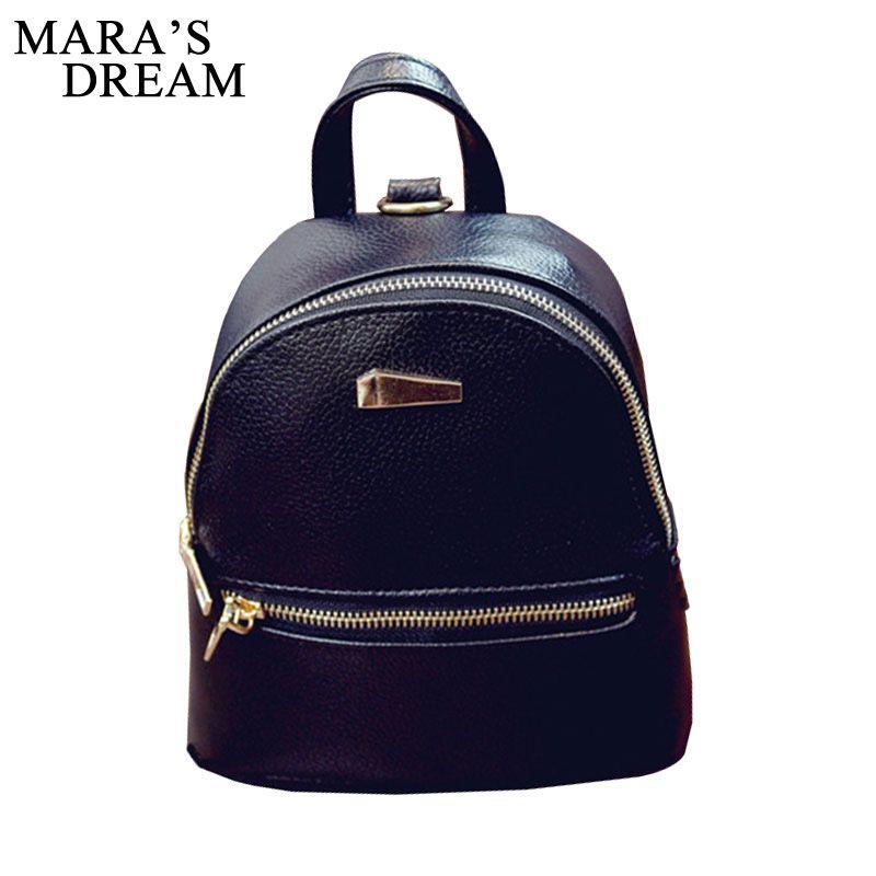 Mara's Dream 2017 New Women's Backpacks Brand Design Fashion Black High Quality Leather Backpack Travel For School Bags Teenage