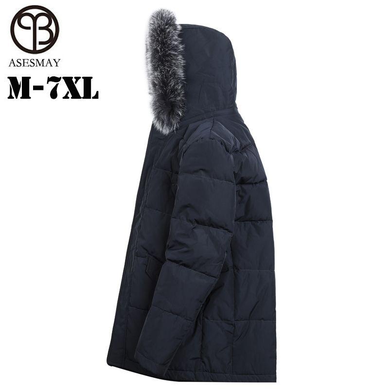 Asesmay Marke 90% weiße ente unten hohe qualität männer unten jacke herren winter mantel hoodies fuchs pelz parkas plus größe freies verschiffen