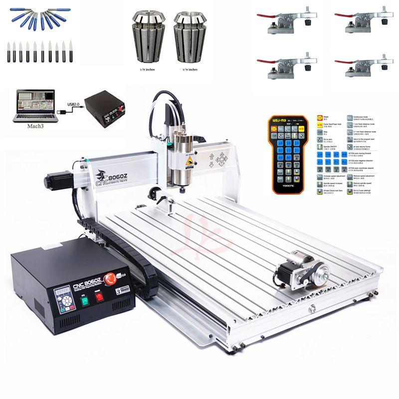 CNC Maschine 4 Achsen USB Port Mini CNC 8060 2200 W Spindel March3 ER20 Collet CNC Router Holzbearbeitung Metall Fräsen maschine Stecher